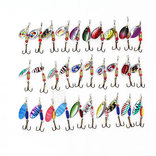 Spinner Baits 30pcs 3-3.5g Fishing Lures Metal Bait Brass Spinner Rotate Sequins bait Hard Bait Lure kits Brass material