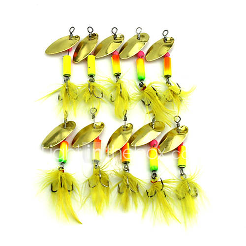 Hengjia 10pcs Spoon Metal Fishing Lures 57mm 3.2g Spinner Baits Random Colors
