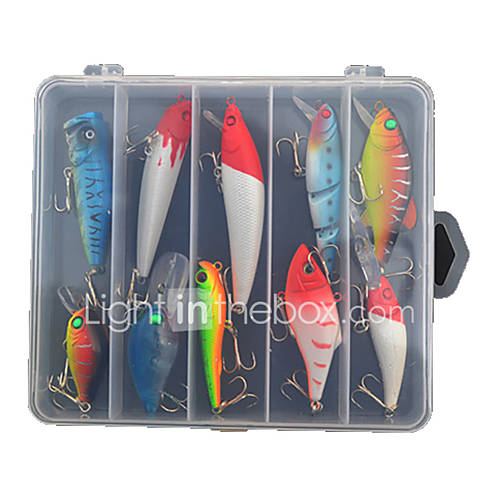 10 pcs Hard Bait / Lure kits / Fishing Lures Crank / Hard Bait / Spoons / Lure Packs / Minnow / Pencil / Vibration/VIB Others g Ounce mm/