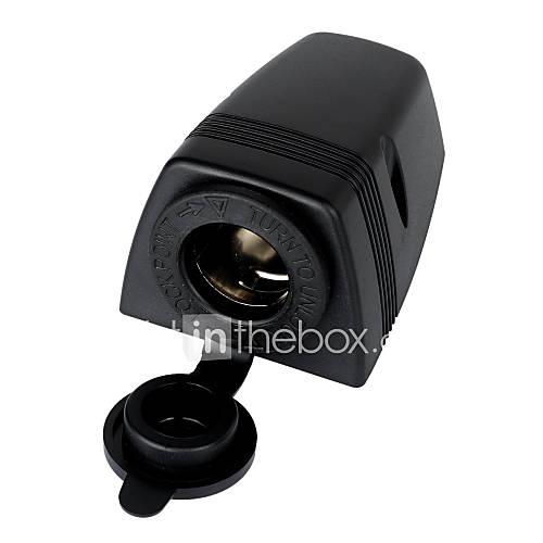 Jtron Water Resistant Cigarette Lighter Socket for Car  Motorcycle - Black
