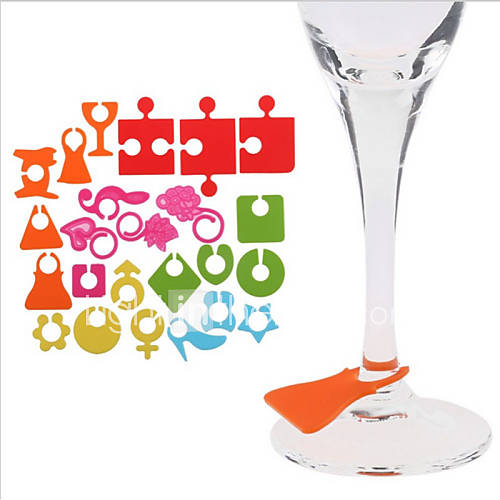 24Pcs/lot Silicone Party Wine Glass Bottle Drink Cup Marker Tags Cup Identify Label Random Color