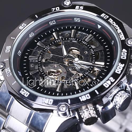 Hombre Reloj de Pulsera / El reloj mecánico Cuerda Automática Huecograbado Acero Inoxidable Banda Plata Marca Descuento en Miniinthebox