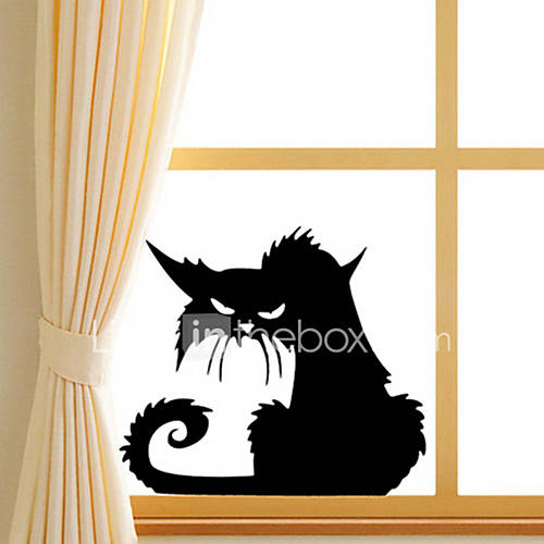Wall Stickers Wall Decals Fashion Halloween Black Cat PVC Wall Sticker