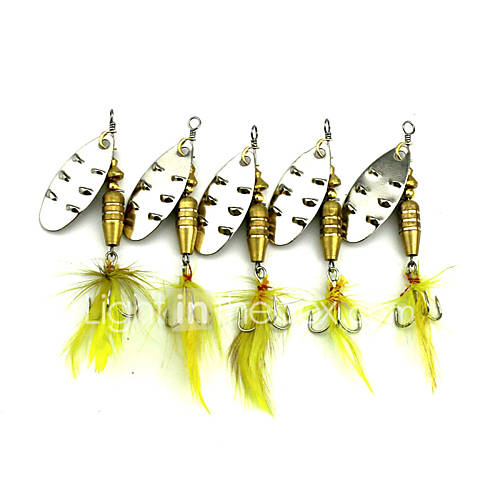 Hengjia 10pcs Spoon Metal Fishing Lures 68mm 7.4g Spinner Baits Random Colors