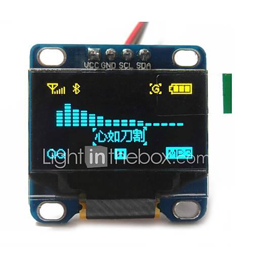 0.96 ''pulgadas CII serie 128x64 OLED LCD OLED de color amarillo y azul I2C llevó el módulo de visualización de Arduino 51 msp420 stim32 Descuento en Miniinthebox