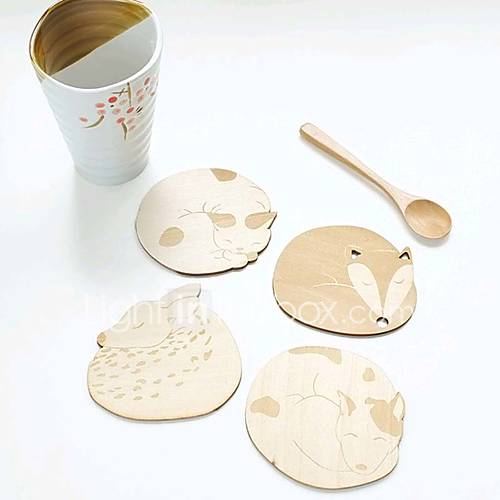 Cute Animal Hollow Wooden Carved Cup Mug Coasters Table Pad Shop Bar Tea Coffee Cup Mat(Random)