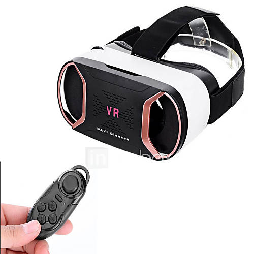 "VR BOX Headset Video Movie Game Polarized Glasses  BT Remote Console for 4~6"" Mobile Phones"