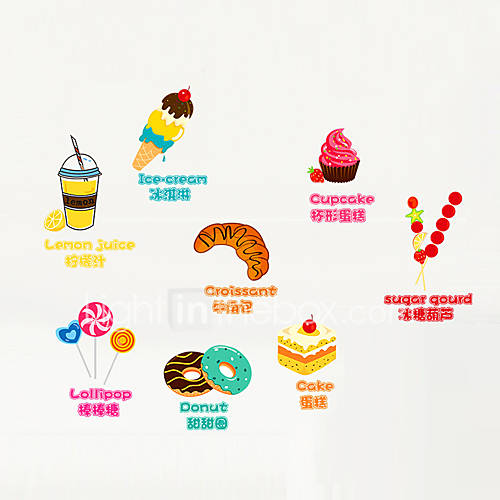Wall Stickers Wall Decals Style Cake PVC Wall Stickers