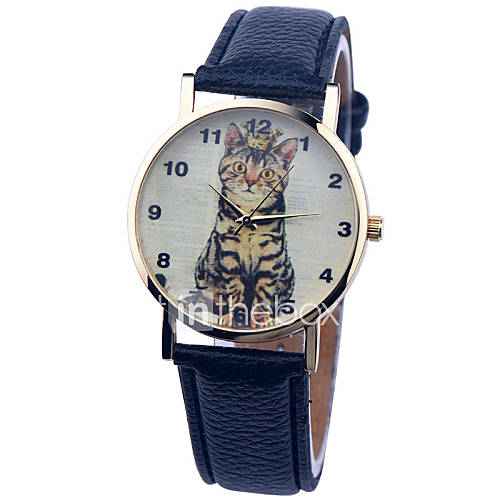 Vintage Watch Cat Leather Watch ...