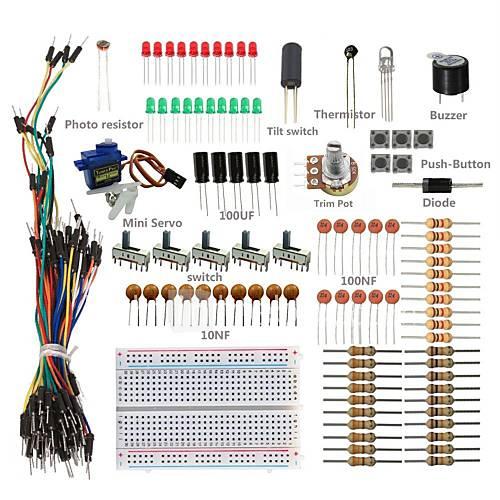 kit básico de arranque w / placa, cables de puente, llevado color, resistencias, zumbador para Arduino Uno R3 Mega2560 mega328 nano Descuento en Miniinthebox