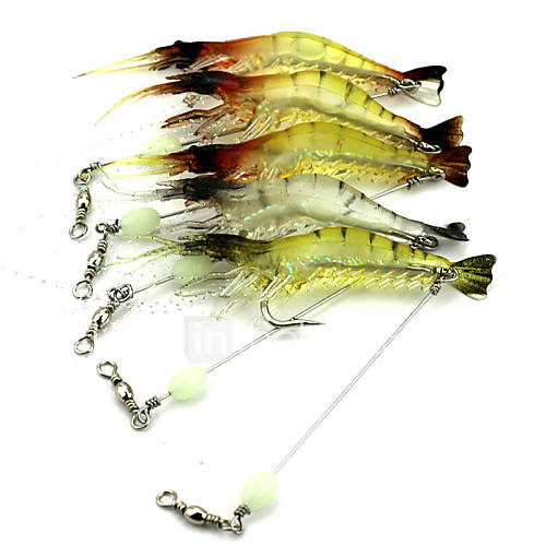 9cm 6.6g/PC Soft Fishing Lure Shrimp Luminous Artificial Bait With Swivel Fishing Lures Baits 1 PC