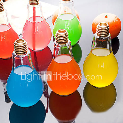 Creative Bulb Glass Water Bottle Portable Juice Cup