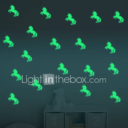 Cartoon Luminous Unicorns Wall Stickers For Kids Rooms Home Decor Living Room Wall Decor/Decals Diy Vinyl Wallpaper