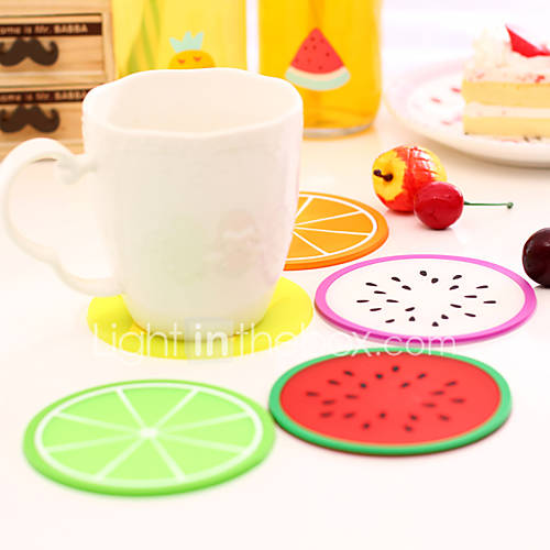 Fruit Shape Coasters Silicone Cup Mat Random Color