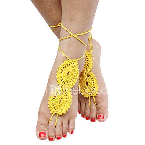 Women's Stylish Solid Crochet Cotton Barefoot Sandals Beach Anklet