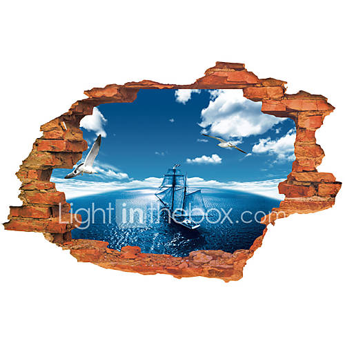 3D Wall Stickers Wall Decals Style Blue Sky Sea Sailing PVC Wall Stickers