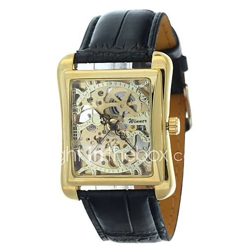 WINNER Men Mechanical Hand-Wind Classic Skeleton Carving Dial Leather Strap Wristwatch Cool Watch Unique Watch