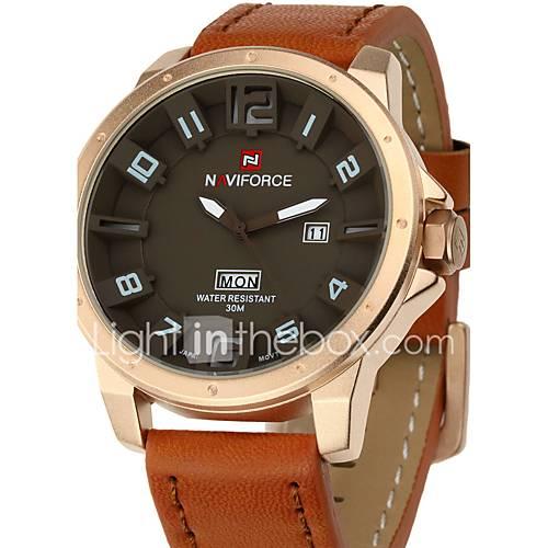 NAVIFORCE Luxury Brand Military Men Quartz Analog 3D Face Leather Clock Man Sports Watches Army Watch Fashion Watch