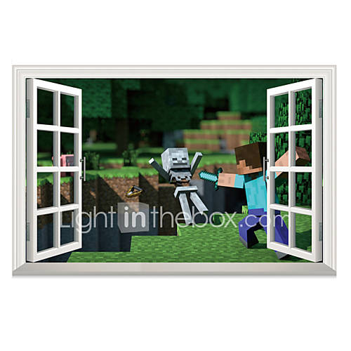 3D My World Steve Attack Skeleton Wall Stickers Personality Fashion Bedroom Living Room 3D Wall Decals