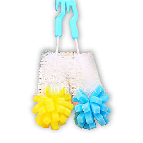 (Random color)1pcs handle sponge head Cleaning Brushes For Glass Milk Bottle/ Cup Brush Family Use