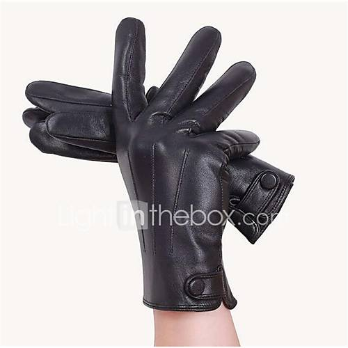 Men'S Washed Leather Motorcycle Rider Warm Gloves Warm Leather Gloves Pu Anti