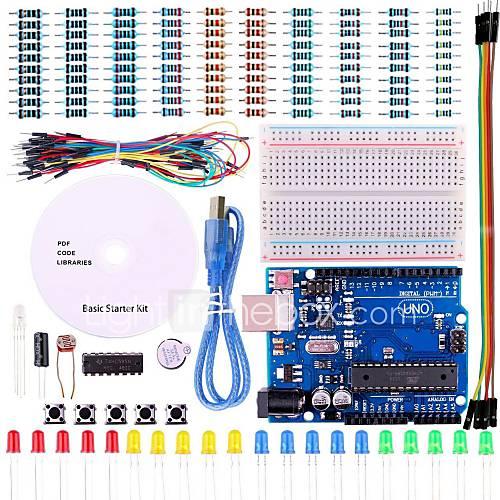 Uno kit de inicio del proyecto básico con tutorial y Uno R3 para Arduino Descuento en Miniinthebox