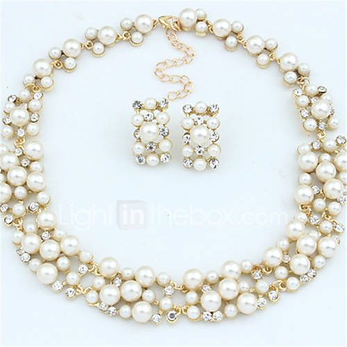 Jewelry Set Drop Earrings Pearl Necklace Fashion European Bridal Elegant Pearl Rhinestone Alloy Circle White Coffee Necklaces Earrings For