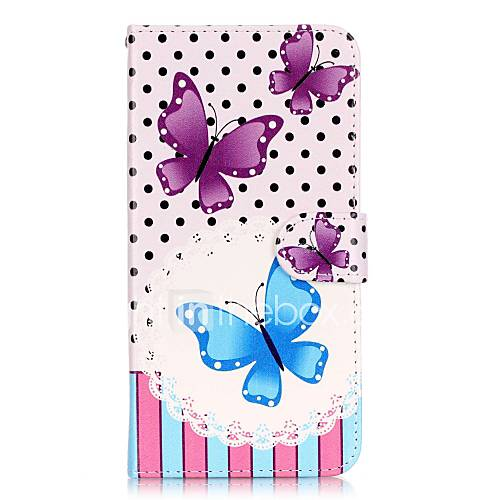 Flip Blue Purple butterfly PU Leather Soft Wallet Case Cover For Samsung Galaxy Note 7 / Note 5 Edge / Note 5