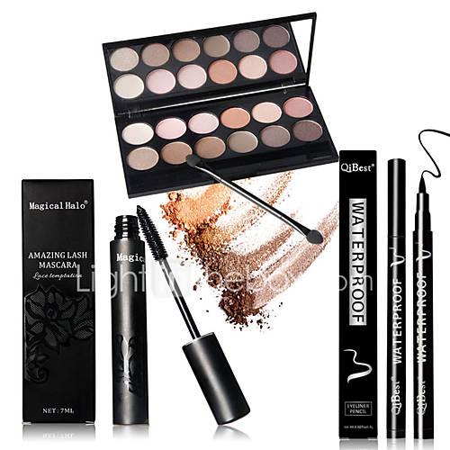12 Earth Color Nude  Glitter Eyeshadow Palette Cosmetic Makeup Set  Palettes 1PCS Mascara 1pcs Liquid Eyeliner