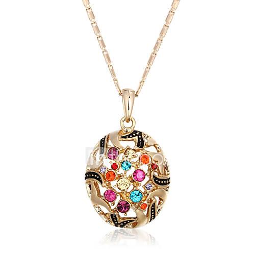 Fashion 18k Gold Plated Alloy Pendant Multicolor CZ Bohemia Hollow Necklaces  Pendants For Women