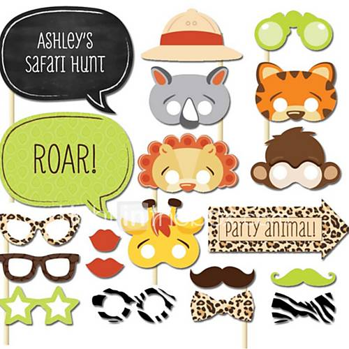 Hard Card Paper Wedding Decorations-20Piece/Set Unique Wedding Décor / Photo Booth Props Party Animals