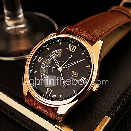 Hombre Reloj de Vestir Cuarzo Reloj Casual Piel Banda Negro / Marrón Marca Descuento en Miniinthebox