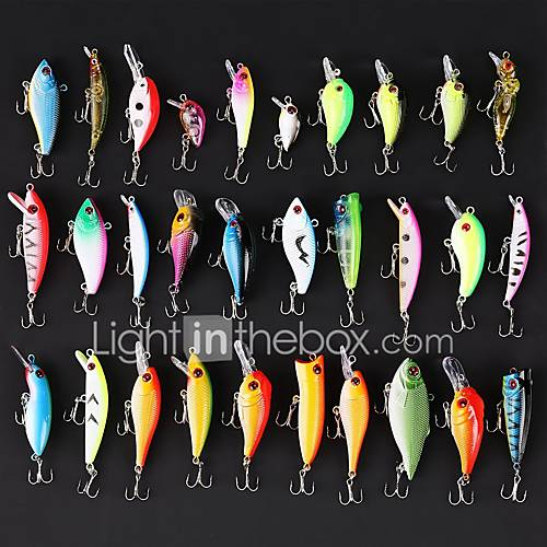 Fishing Lures 30pcs 1.5-9g Minnow Popper Pencil Vib Crank Hard Bait Hard Plastic bass fish