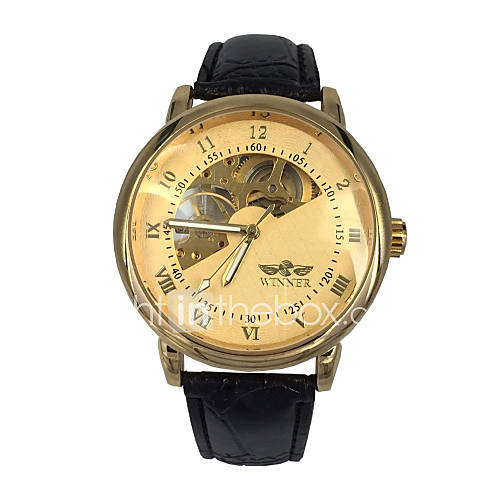 WINNER Men's Hollow Gold Skeleton Mechanical Leather Band Wrist Watch Cool Watch Unique Watch