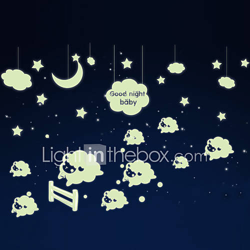 Luminous Wall Stickers Wall Decals Style Little Sheep PVC Wall Stickers