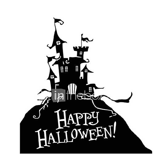 Halloween Wall Stickers Hallowmas Wall Decal Home Decoration Pumpkin Castle Poster Wallpaper Kids DIY Window Decor