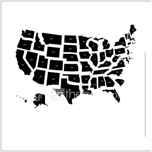 Abstract American Map Wall Stickers Cartoon Map Decorative Wall Decal vinyl Material Removable Home Decoration