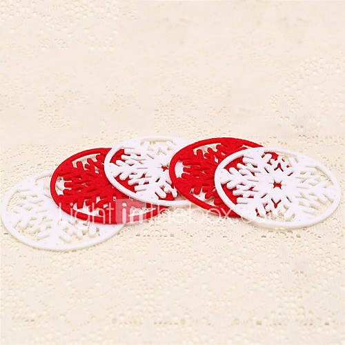 4pcs Christmas Red White Snowflake Glasses Mat Drinking Cup Tea Coaster Table Decoration Holiday