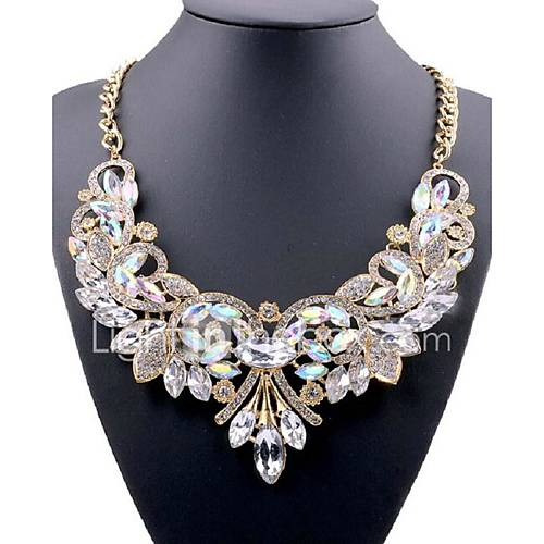 Women's Flower Shape Vintage Party Work Casual Fashion Y-Necklace Statement Necklace Crystal Rhinestone Alloy Y-Necklace Statement