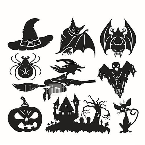 3D Wall Stickers Wall Decals Style Halloween Witch PVC Wall Stickers