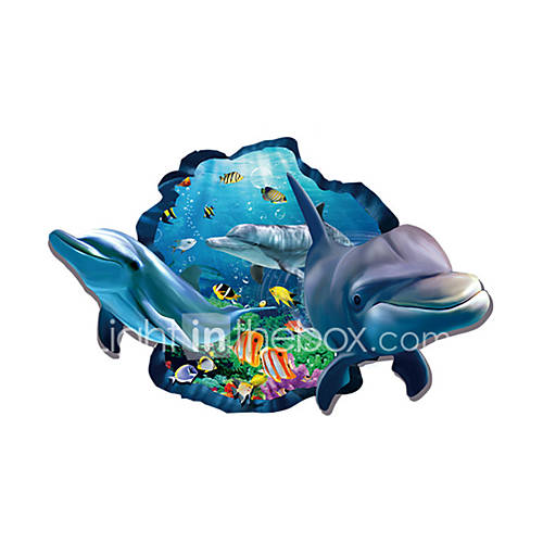 3D Wall Stickers Wall Decals Style Sea World Dolphin PVC Wall Stickers