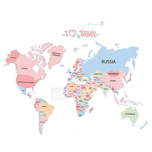 Wall Stickers Wall Decals Style World Map PVC Wall Stickers