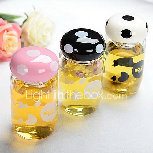 Mushroom Portable Cup Glass Cup with Tea Strainers