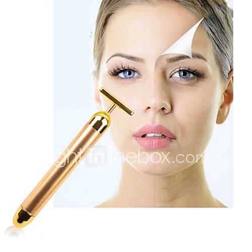 Face Lift Tightening Firming 24K Gold Face Skin Massage Roller Body Eye Massager Electric Vibrator Health Beauty