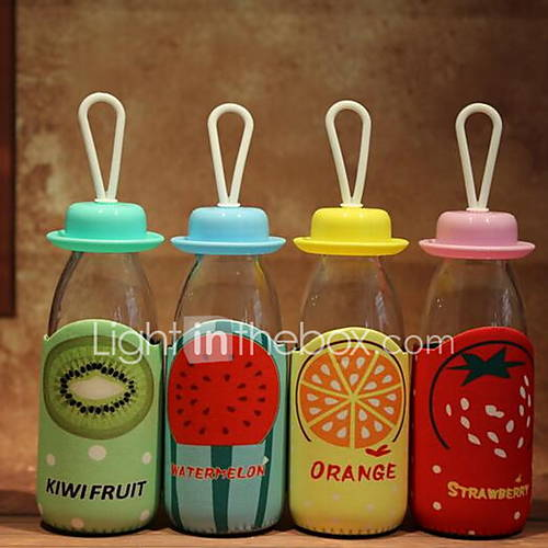 Creative 300ML Fruit Fabric Cover Transparent Glass Sports Cup Student Cup with Rope (Random Color)