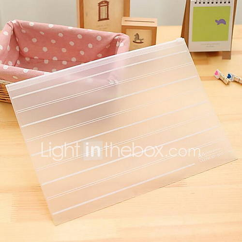 A4 Zipper Storage Bag Environmental Transparent Matte Paper Bags Bills Storage Bag (Large Size)