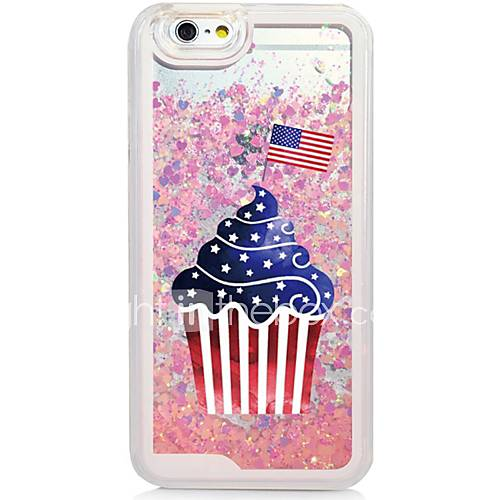 Cup Cake Back Flowing Quicksand Liquid/Printing Pattern PC Hard Case Cover For iPhone 6s Plus/6 Plus/6s/6/SE/5s/5