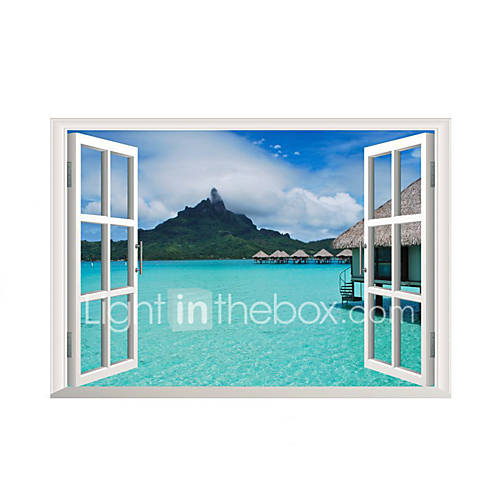 3D Wall Stickers Wall Decals Style Forest Sea View Room PVC Wall Stickers