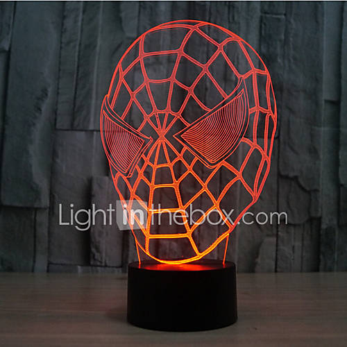 Spider-Man Touch Dimming 3D LED Night Light 7Colorful Decoration Atmosphere Lamp Novelty Lighting Christmas Light