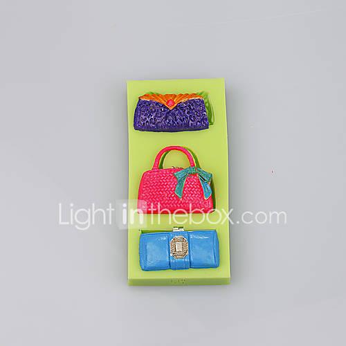 High quality three bag shape mould silicone cake model women hand bag mold